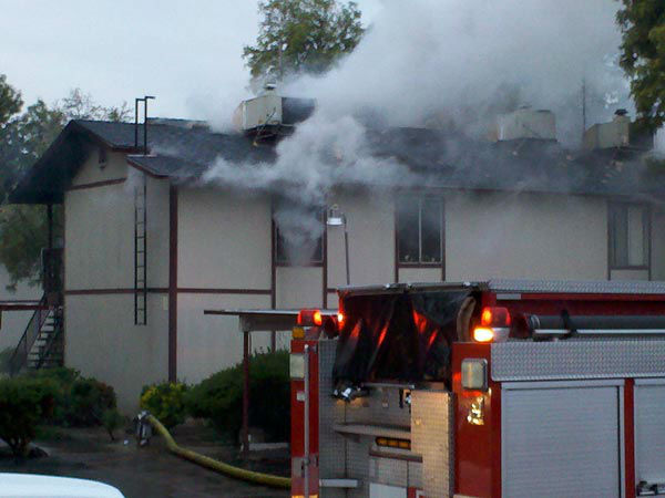 One person is hurt following a fire at an apartment complex in Central Fresno. <span class=meta>(KFSN Photo)</span>