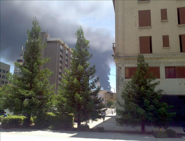Big carpet fire as seen from downtown <span class=meta>(KFSN Photo&#47; uReport.abc30.com)</span>