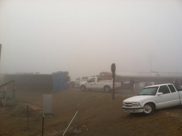 The CHP said dense fog and poor visibility were...