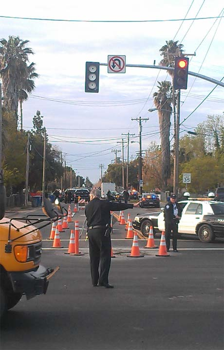 Traffic is congested in the area of Shaw and HWY 99. Police are directing traffic.