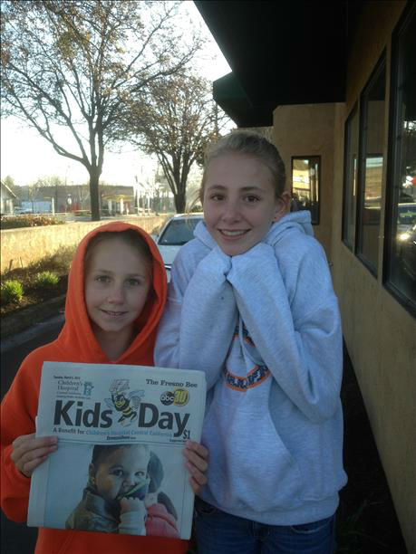 "<div class=""meta ""><span class=""caption-text "">Sydney and Sierra sold papers early this morning in Coalinga as part of their Muriettas honors group! (KFSN Photo/ uReport)</span></div>"