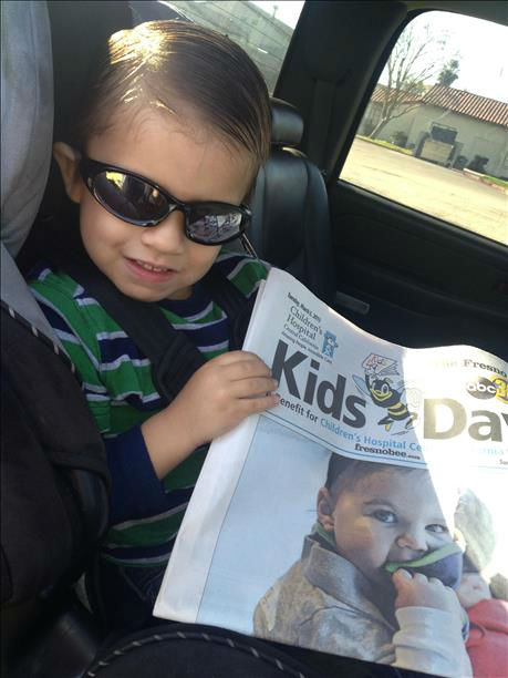 Caleb Camacho Rockin his Kids Day paper... <span class=meta>(KFSN Photo&#47; uReport)</span>
