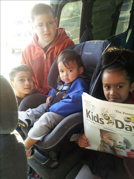 Had to get thm thr Kids Day Paper befor school. Andrew Adrian Anjulissa and Antonio from Madera <span class=meta>(KFSN Photo&#47; uReport)</span>