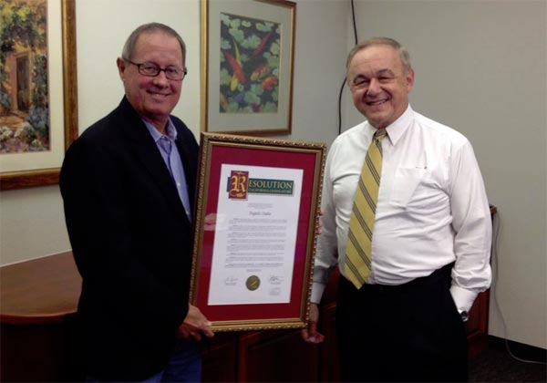 State Senator Tom Berryhill presenting Angelo Stalis with a State of California Resolution honoring his 43 years of providing weather forecasts for Central California families. Congrats on the resolution Angelo!! <span class=meta>(ABC30)</span>