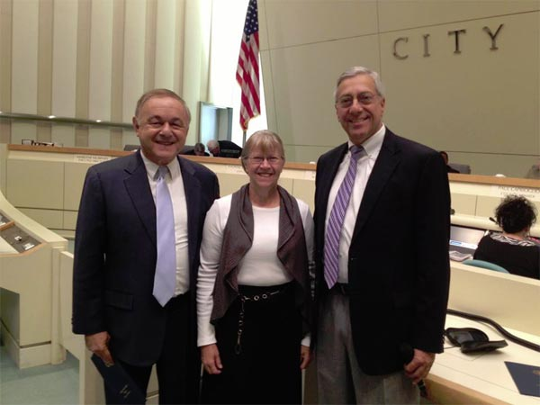 "<div class=""meta ""><span class=""caption-text "">Angelo Stalis with his wife, Barbara, and Fresno City Manager Mark Scott - right after the city proclaimed Friday, May 31st, as ""Angelo Stalis Day."" (ABC30)</span></div>"