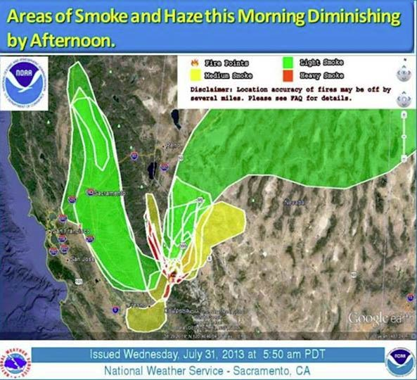 Drift smoke continues to come from the 14,000&#43; acre Aspen Fire in eastern Fresno County Wednesday morning. The Weather Service says the smoke should begin diminishing Wednesday afternoon. <span class=meta>(Cal Fire)</span>