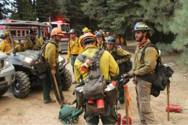 Crews Stage on Highway 120 <span class=meta>(KFSN Photo&#47; Mike McMillan - USFS)</span>