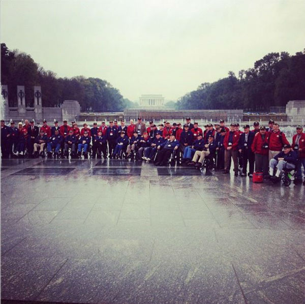 Remarkable morning on the National Mall. Honor Flight Veterans line up vigor a photo at the World War II Memorial. <span class=meta>(KFSN Photo&#47; Warren Armstrong)</span>
