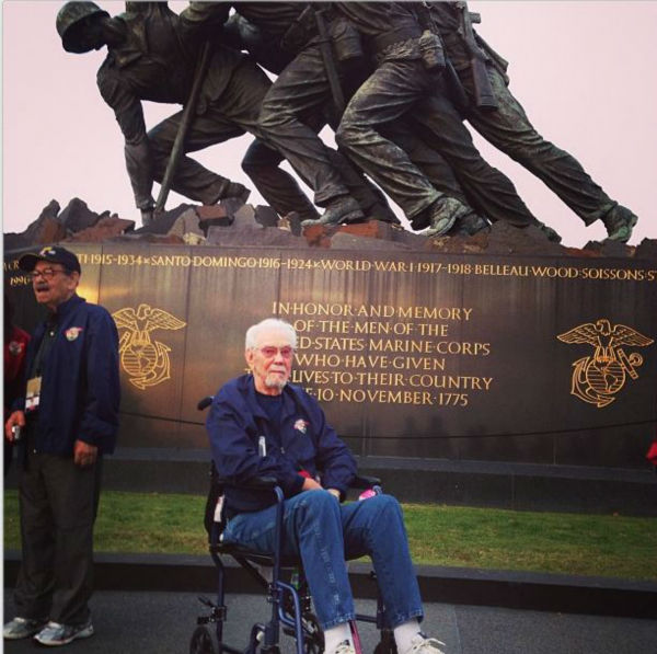 "<div class=""meta ""><span class=""caption-text "">American Hero: Marine Wm. Ken Miller at the Iwo Jima Memorial - one of 12 survivors of Battle of Saipan (KFSN Photo/ Kirk, Benjamin)</span></div>"