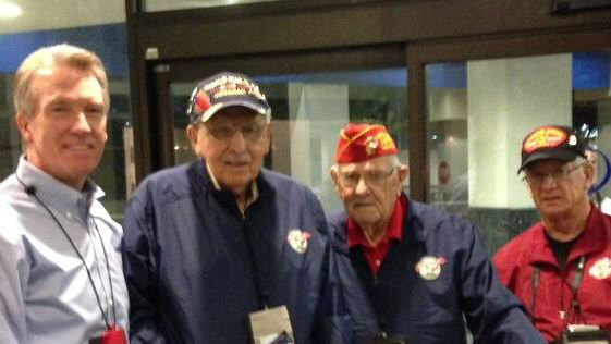 "<div class=""meta ""><span class=""caption-text "">Honor Flight veterans. Next to Warren Armstrong (left) is Ruben Ramirez of Reedley -- Purple Heart & Bronze Star (KFSN Photo/ Kirk, Benjamin)</span></div>"
