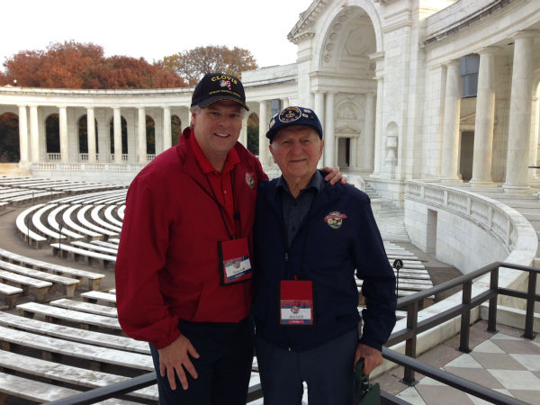 FSU Athletics Director Thomas Boeh and Navy Veteran Jonas Hofer of Fresno at Arlington National Cemetery <span class=meta>(Warren Armstrong)</span>