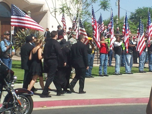 Private A.J. Pardo&#39;s family arriving at church <span class=meta>(KFSN Photo&#47; Linda Mumma)</span>