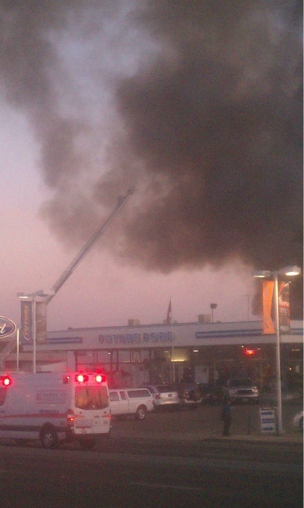 Future Ford car dealership fire in Clovis