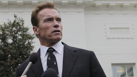 California Gov. Arnold Schwarzenegger speaks to the media outside the White House in Washington, Monday, Feb. 22, 2010.
