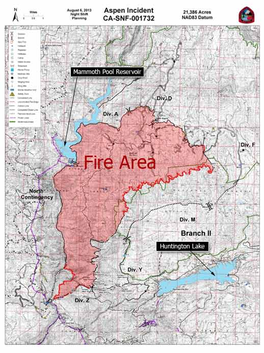 August 8, 2013 map of the Aspen Fire burning near Mammoth Pool Reservior.