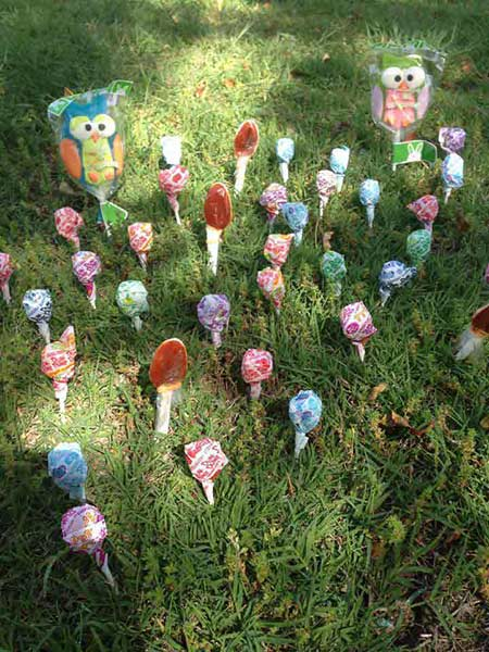 "<div class=""meta ""><span class=""caption-text "">Valerie Hurtado's son Izzy woke up to a garden of lollipops after throwing his jellybean seeds the night before. (Facebook / Valerie Hurtado)</span></div>"