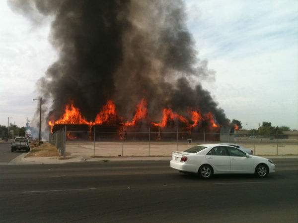 Large fire burning in East Central Fresno