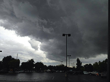 Dark clouds over Hanford &#40;before the hail&#41;. <span class=meta>(Facebook &#47; Erica Banegas)</span>
