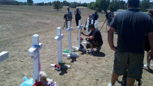 People wrote personal messages on the crosses.