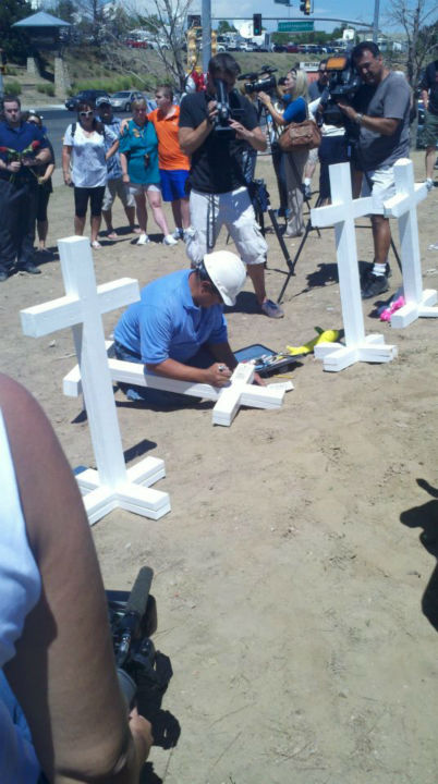 "<div class=""meta ""><span class=""caption-text "">Zanis made sure to put each person's name on the crosses. I can tell you the memorial changed at this point. We watched as the crosses went up. They seemed to make it easier for people to reflect on what happened. Watch the video (KFSN Photo/ Rick Montanez)</span></div>"