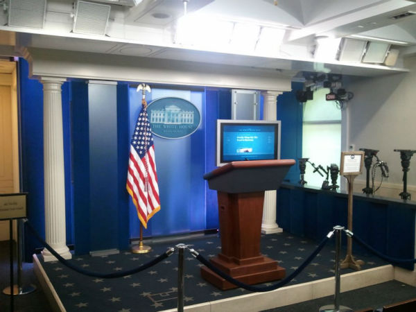 The James S. Brady Press Briefing Room inside the White House. <span class=meta>(KFSN Photo&#47; ABC30)</span>
