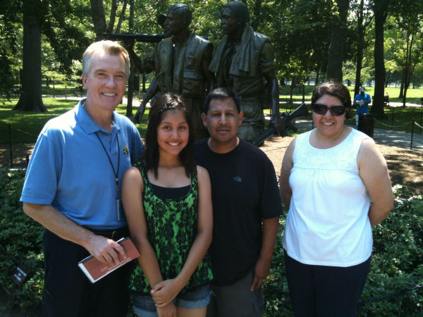 "<div class=""meta image-caption""><div class=""origin-logo origin-image ""><span></span></div><span class=""caption-text"">While visiting the Vietnam Veterans Memorial, Warren said he suddenly heard, ""Hey Warren!"" He turned around and met the super nice Aguilar family from Sanger. (KFSN Photo/ ABC30)</span></div>"