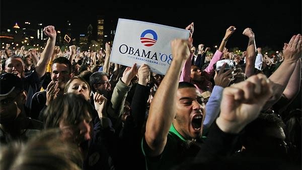 Obama supporters react to his win in Chicago.