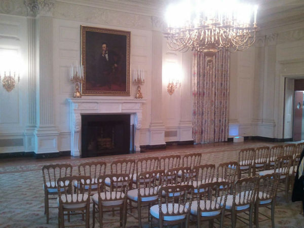 The White House State Dining Room. Used for formal dinners. Picture of Lincoln on the wall. <span class=meta>(KFSN Photo&#47; Marquese Brown)</span>