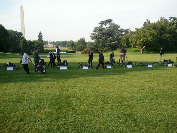 Outdoor media setup at the White House for the day&#39;s event <span class=meta>(KFSN Photo&#47; Marquese Brown)</span>