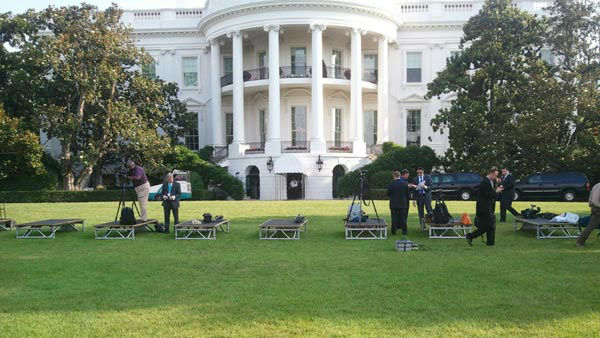 Outdoor media setup at the White House for the day's event
