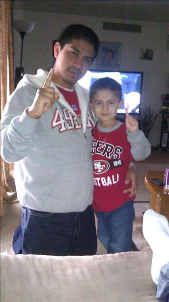 Louie Castro jr and his sone Julian Castro...ready for the game to start! <span class=meta>(KFSN Photo&#47; uReport)</span>