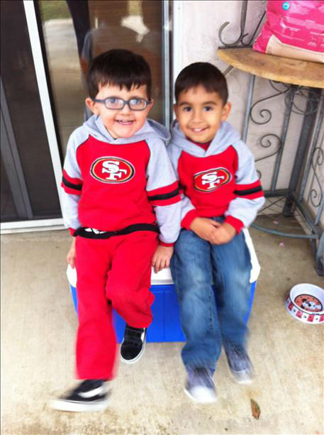 "<div class=""meta ""><span class=""caption-text "">Our Niner boys - Caleb Wilson(3) with his cousin Carson De Leon(4) (KFSN Photo/ uReport)</span></div>"
