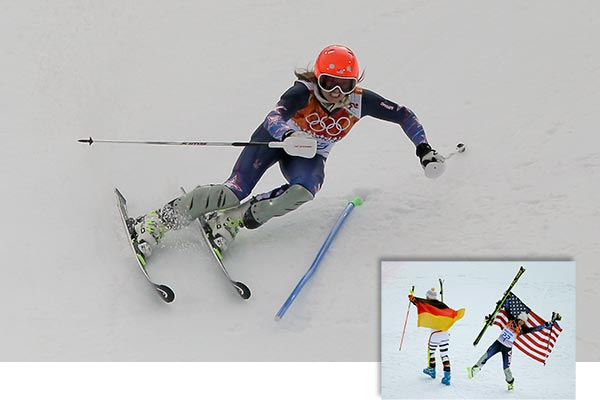 "<div class=""meta ""><span class=""caption-text "">Julia Mancuso wins Bronze in Women's Skiing Super-Combined  By GRAHAM DUNBAR   KRASNAYA POLYANA, Russia (AP) - Maria Hoefl-Riesch won her second straight Olympic super-combined title Monday, with downhill leader Julia Mancuso settling for bronze.  Hoefl-Riesch was fifth fastest in the opening downhill leg, but her superior slalom skills gave her the gold at the finish. She is, after all, the defending Olympic champion in slalom.  The German's two-run time of 2 minutes, 34.62 seconds was 0.40 seconds faster than silver medalist Nicole Hosp of Austria.  Mancuso, 0.53 behind Hoefl-Riesch, punched the air with her right fist after seeing she had won her fourth career Olympic medal. No other American woman has won more than two.  At the 2010 Vancouver Olympics, Hoefl-Riesch won the super-combined and Mancuso took silver.  Hoefl-Riesch stood in the snow at the finish area to watch Mancuso's run and let her skis fall to the ground after seeing her rival's time flash up on the giant screen.  She turned to face fans in the grandstand, placed her hands to her head then kneeled on the snow.  The 29-year-old German matched Janica Kostelic in winning two straight combined titles. The Croatian great won gold in the traditional version, which includes two slalom runs, in 2002 and 2006.  Mancuso's Olympic tally includes two medals in super-combined, a gold in giant slalom from the 2006 Turin Olympics and silver in downhill in Vancouver.  Mancuso raised her level on the biggest stage again in the first of five women's events despite having a best result of only seventh on this season's World Cup circuit.  An event which tests racers' all-around ability to be fast and technically correct proved to be challenging, especially on a steep slalom track lit by floodlights on a cloudy afternoon.  Four of the 10 fastest downhill racers failed to get down the slalom, including Lara Gut of Switzerland, who had been second behind Mancuso.  One pre-race favorite for a medal, Marie-Michele Gagnon of Canada, fell in the slalom and appeared to injure her left wrist.  Gagnon trailed badly in the morning downhill, then straddled a slalom gate and crashed forward on the snow.  (AP / Charlie Riedel)</span></div>"