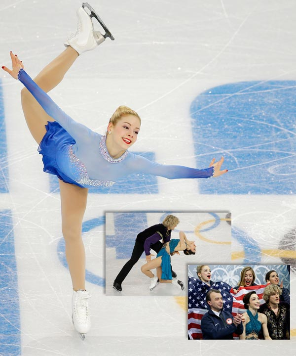 IMAGE: Gracie Gold of the United States competes in the women&#39;s team free skate figure skating competition at the Iceberg Skating Palace during the 2014 Winter Olympics, Sunday, Feb. 9, 2014, in Sochi, Russia.   LEFT: Meryl Davis and Charlie White of the United States compete in the team free ice dance figure skating competition at the Iceberg Skating Palace during the 2014 Winter Olympics, Sunday, Feb. 9, 2014, in Sochi, Russia.  RIGHT: Meryl Davis, centre, and Charlie White of the United States, right, wait in the results area after competing in the team free ice dance figure skating competition at the Iceberg Skating Palace during the 2014 Winter Olympics, Sunday, Feb. 9, 2014, in Sochi, Russia.   America wins Bronze in Team Figure Skating By BARRY WILNER   SOCHI, Russia &#40;AP&#41; - The Americans&#39; bronze effort was led by world champions Meryl Davis and Charlie White, who won both the short and free dance, and helped by national champion Gracie Gold&#39;s superb free skate, which the judges scored second behind Lipnitskaia.  &#34;We were looking forward to this event,&#34; White said. &#34;We feel like we were out there for each other and with each other.&#34;  Davis and White beat their top rivals and training partners, defending champions Tessa Virtue and Scott Moir of Canada, in both dance disciplines. Canada didn&#39;t win any segment, but built enough points throughout to take silver.  American Jason Brown of Highland Park, Ill., was fourth in his first major senior international event.  But those are just details. This was a night for a Russian show that might be celebrated as much as the Bolshoi.   A master showman and four-time Olympic medalist, Evgeni Plushenko knows brilliance on the ice.  He saw it Sunday night inside the Iceberg at Sochi&#39;s Olympic Park from a countrywoman half his age. And he is certain Russia&#39;s figure skating future is secure in the skates of Julia Lipnitskaia.  &#34;She is a genius,&#34; Plushenko said.  Along with eight teammates, the 31-year-old veteran and 15-year-old Olympic rookie won the new event of team figure skating and lifted the host nation to its first gold medal of the Sochi Olympics. Together, they put Russia back atop a sport it once dominated.  &#34;My main motivation today,&#34; Lipnitskaia said, &#34;was not to let the team down.&#34;  There was no chance of that in an arena packed with her exulting countrymen, including President Vladimir Putin. The Russians skated away from Canada and the United States to win the gold before the final free dance even started.  In no discipline did Russia finish worse than third, compiling 75 points to Canada&#39;s 65 that won silver and the 60 that gave bronze to the Americans.  It was a rout built on the experience of Plushenko, the consummate entertainer who now has two golds and two silvers - a record for modern-era figure skaters.  It was victory capped by the freshness of Lipnitskaia, who donned a Russia baseball cap when she was done with her sublime tour of the ice, sat with her triumphant teammates and grinned like the school kid she is.  &#34;I was calm,&#34; Lipnitskaia said, adding it was her coaches, parents and teammates who were nervous. &#34;I&#39;m happy with my marks, the scores overall, for the team and for all of Russia. I am so pleased all the country could help me.&#34;  That includes Putin, who personally congratulated the team after their victory and picked the perfect competition to make his first at these games. Also in the Iceberg stands: members of the Russian ice-hockey team, Olympic champion gymnast Alina Kabayeva and two-time Olympic champion pole vaulter Yelena Isinbayeva.  &#34;We feel joy and honor,&#34; said ice dancer Elena Ilinykh of Putin&#39;s presence. &#34;It was inspirational.&#34;  That some other countries sat out their top skaters or that the Russians did the same in pairs and dance didn&#39;t matter. This was never much of a contest.  &#34;This games is the hardest for me,&#34; Plushenko said. &#34;All the fans are cheering so hard that you literally cannot do badly because they do everything with you. You get goose bumps.&#34;  It signals the country&#39;s return to the top of a sport it had owned for decades. As the Soviet Union or Russia, the host nation had won 51 Olympic figure skating medals. But there were no golds in Vancouver four years ago, a first since the country was blanked in 1960.  Now, in the first figure skating event of the Sochi Games, Russia stood atop the medals podium.  It&#39;s a place the sensational Lipnitskaia could make her own, just as Plushenko has done for more than a decade. Her routine to &#34;Schindler&#39;s List&#34; was mesmerizing. With maturity and grace beyond her years, she clearly was never bothered by her surroundings on this golden night for Russia.  &#34;She&#39;s dynamite,&#34; Gold said while Lipnitskaia was still skating. &#34;She&#39;s 15 and completely unfazed.&#34;  Lipnitskaia then contorted her body into one of her spins that a human body shouldn&#39;t be able to perform.  &#34;She has no spine,&#34; Gold added with a chuckle. &#34;But she has iron in her bones.&#34;  Give Plushenko plenty of credit, too. He says he&#39;s had 12 surgeries. He barely competed after finishing second to American Evan Lysacek in 2010 at the Vancouver Games. And he had to convince his federation he deserved to be in Sochi after finishing second at the national championships.  Mission accomplished, with a golden hue.  Skating to &#34;Best of Plushenko,&#34; there were mistakes in his jumps and not much in between them aside from the required footwork. No, it was not his best, but he scored 168.20 points.  &#34;Today he was a good member of the team,&#34; said his longtime coach, Alexei Mishin. &#34;He&#39;s enough famous and enough great.&#34;  ___  AP Sports Writer Rachel Cohen, AP writer Nataliya Vasilyeva and freelancer Marie Millikan contributed to this story. <span class=meta>(AP &#47; Vadim Ghirda and David J. Phillip)</span>