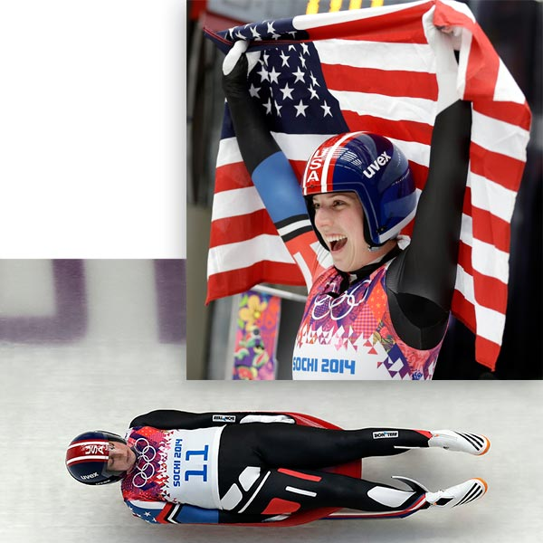 "<div class=""meta image-caption""><div class=""origin-logo origin-image ""><span></span></div><span class=""caption-text"">Erin Hamlin wins bronze in Women's Luge By  TIM REYNOLDS   KRASNAYA POLYANA, Russia (AP) - Natalie Geisenberger won the Olympic gold medal in women's luge, easily prevailing Tuesday to grab Germany's fifth straight in the event and doing so by an enormous margin.  German teammate Tatjana Huefner won the silver and Erin Hamlin won the bronze, the first singles luge medal ever for the United States.  Geisenberger finished four runs in 3 minutes, 19.768 seconds. She topped Huefner by 1.139 seconds, the second-largest winning margin in Olympic women's luge history.  Hamlin was another 0.236 seconds back for the bronze.  It was the first time in Olympic women's luge history that three world champions swept the medals. Geisenberger won in 2013, Huefner four times from 2007 through 2012, and Hamlin in 2009. (AP / Natacha Pisarenko / Michael Sohn)</span></div>"