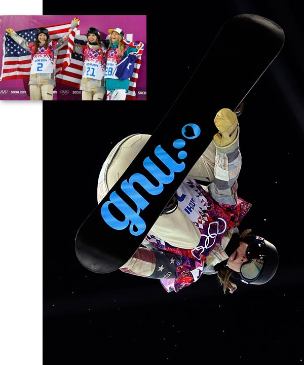 UPPER LEFT PHOTO: From left, bronze medalist United States&#39; Kelly Clark, gold medalist United States&#39; Kaitlyn Farrington and silver medalist Australia&#39;s Torah Bright pose following the women&#39;s snowboard halfpipe  Kaitlyn Farrington wins halfpipe gold By WILL GRAVES  KRASNAYA POLYANA, Russia &#40;AP&#41; - Kaitlyn Farrington of the U.S. captured gold in the women&#39;s Olympic snowboarding halfpipe final Wednesday, edging defending champion Torah Bright and American teammate Kelly Clark for the title. 	 Farrington posted a score of 91.75 during her second run, just good enough to beat Bright&#39;s 91.50.  	 Farrington, who lives in Salt Lake City, Utah, had spent most of the run-up to the games playing second-fiddle to Clark, the 2002 Olympic champion. The 24-year-old needed to navigate the semifinals to reach the medal round but responded brilliantly. 	 The victory gave the U.S. just its third gold medal of the Games, all of them coming at Rosa Khutor Extreme Park.    ------    Click &#34;Next&#34; to see more on this event. <span class=meta>(AP &#47; Felipe Dana | Sergei Grits)</span>