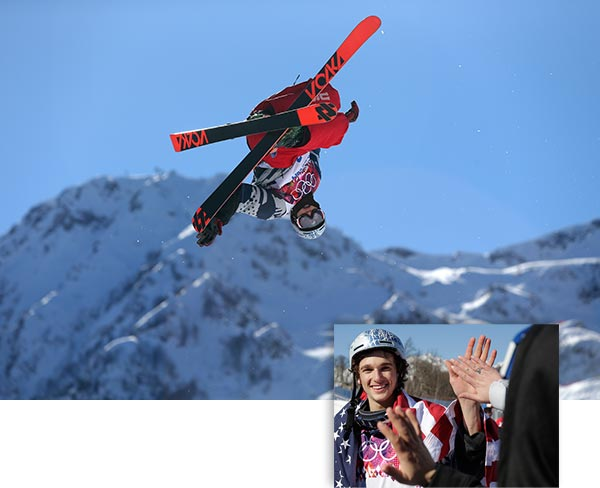 "<div class=""meta ""><span class=""caption-text "">Nick Goepper wins bronze in Men's Skiing Slopestyle  Americans Joss Christensen, Gus Kenworthy and Nick Goepper swept the podium in men's slopestyle skiing Thursday, putting on a spectacular show to boost America's lagging medal count and provide the U.S. team with a jolt from a mountain whose vibe is more spring break than Winter Olympics.  See previous images for more on this event  ------  Main Image: Nicholas Goepper of the United States makes a jump during a run in the men's ski slopestyle final to win the bronze medal at the Rosa Khutor Extreme Park, at the 2014 Winter Olympics, Thursday, Feb. 13, 2014, in Krasnaya Polyana, Russia. (AP Photo/Sergei Grits)  Bottom Right:Nicholas Goepper of the United States is congratulated after winning the bronze medal in men's ski slopestyle at the Rosa Khutor Extreme Park, at the 2014 Winter Olympics, Thursday, Feb. 13, 2014, in Krasnaya Polyana, Russia. (AP Photo/Gero Breloer) (AP Photo / Sergei Grits / Gero Breloer)</span></div>"