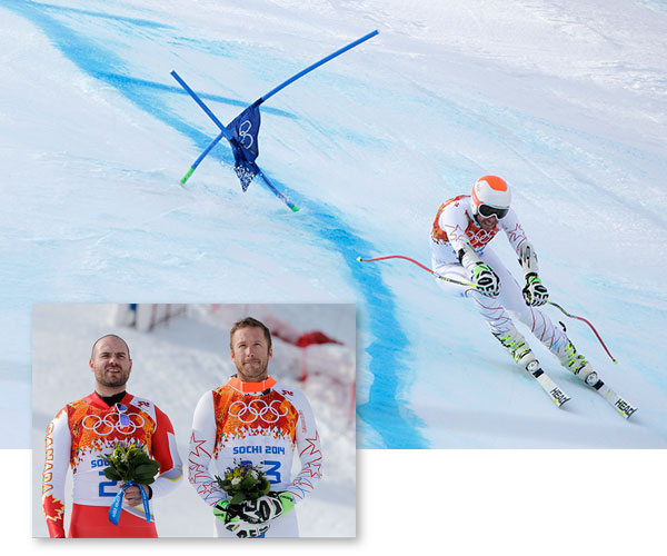 Bode Miller ties Jan Hudec for bronze in Men&#39;s Super-G  Miller, 36, became the oldest ever Olympic Alpine medalist, surpassing the mark Aamodt set when he won the super-G at Turin in 2006 at age 34. This was Miller&#39;s sixth Olympic medal, moving him two behind the all-time Alpine leader Kjetil Andre Aamodt.  ------  See previous image for more on this event. ------  Image: Joint bronze medal winner Bode Miller of the United States passes a gate in the men&#39;s super-G the Sochi 2014 Winter Olympics, Sunday, Feb. 16, 2014, in Krasnaya Polyana, Russia. &#40;AP Photo&#47;Charlie Riedel&#41;  Bottom Image: Men&#39;s super-G joint bronze medal winners Canada&#39;s Jan Hudec, left, and United States&#39; Bode Miller stand on the podium during a flower ceremony at the Sochi 2014 Winter Olympics, Sunday, Feb. 16, 2014, in Krasnaya Polyana, Russia. &#40;AP Photo&#47;Christophe Ena&#41; <span class=meta>(AP Photo&#47;Charlie Riedel&#47;Christophe Ena)</span>