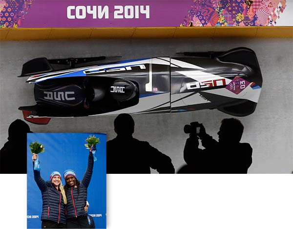 "<div class=""meta ""><span class=""caption-text "">Jamie Greubel and Aja Evans win bronze in woman's Bobsled  See previous image for more on this event  ------  Main Image: The team from the United States USA-2, piloted by Jamie Greubel with brakeman Aja Evans, take a curve on their third run during the women's bobsled competition at the 2014 Winter Olympics, Wednesday, Feb. 19, 2014, in Krasnaya Polyana, Russia. (AP Photo/Dita Alangkara)  Lower right: Bronze medal winners from the United States Jamie Greubel and Aja Evans pose during the flower ceremony during the women's bobsled competition at the 2014 Winter Olympics, Wednesday, Feb. 19, 2014, in Krasnaya Polyana, Russia. (AP Photo/Michael Sohn) (AP/Dita Alangkara/Michael Sohn)</span></div>"