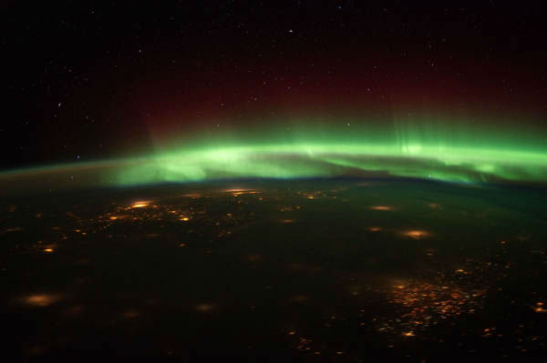The Aurora Borealis in this nighttime photograph...