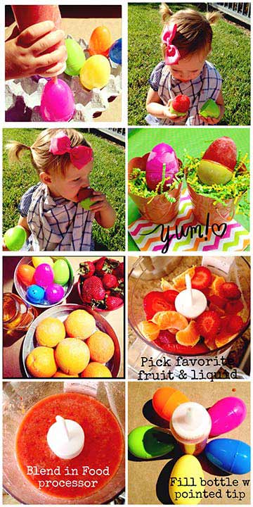 Easter Egg Popsicle Ingredients      Plastic Eggs &#40;large&#41;       1.5 cups Strawberries       2 Halo Clementines       1. Cup apple Juice       2-3 TB Agave or Sugar       1 Candy bottle &#40;with pointed tip&#41;       Funnel  Directions    Wash eggs &#38; dry. Use scissors to poke a hole in the  pointed side of the egg &#40;top&#41;. Cover any holes in the bottom with a piece of  clear tape. Set aside.           Wash &#38; slice strawberries. Add Strawberries,  clementine wedges, &#38; Apple Juice until well blended. To prevent the bottle  from getting clogged use a cheesecloth to strain the juice. With a funnel, fill  the bottle with the liquid combination.            Fill the egg, leaving 1&#47;4 inch gap at the top for the  liquid to expand when frozen.            Place in egg crate, standing  upright and freeze overnight.   Enjoy! <span class=meta>(Chef Shayna)</span>