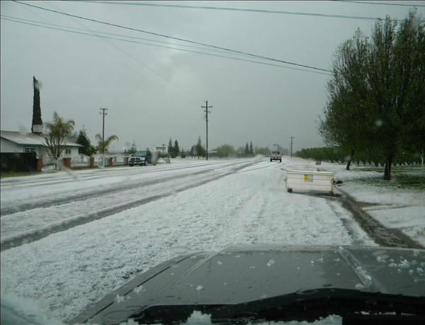 Deep hail in Traver on Wednesday.    <span class=meta>(KFSN Photo&#47; uReport)</span>