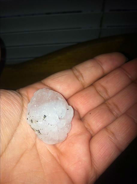 Hail stones from Atwater, CA thunderstorm 4-12-12