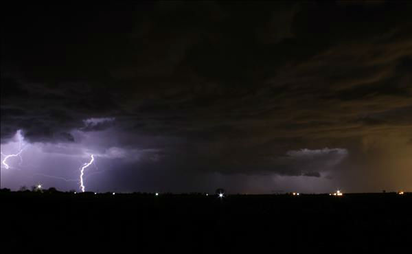 "<div class=""meta ""><span class=""caption-text "">Sunday night's thunderstorm. Shot was taken just north of Kerman. (KFSN Photo/ uReport - martya74)</span></div>"