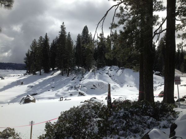 Snow at Shaver Lake -- which is still being filled after it was drained late last year. <span class=meta>(KFSN Photo)</span>
