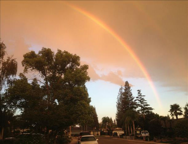 "<div class=""meta ""><span class=""caption-text "">Sunrise double rainbow over Reedley on Monday morning (KFSN Photo/ uReport)</span></div>"
