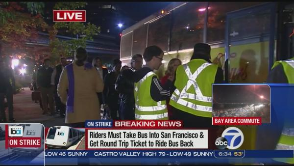 Buses fill up at BART stations for morning commute