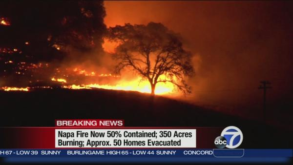 Fire in Napa causes mandatory evacuations