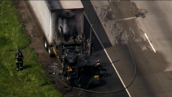 Big rig catches fire on I-580 near Dublin