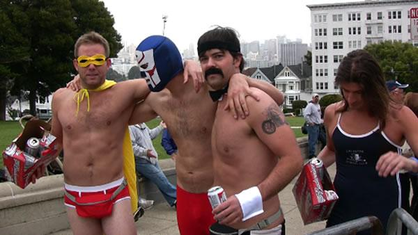 Drinking and costumes early in the morning before Bay to Breakers.